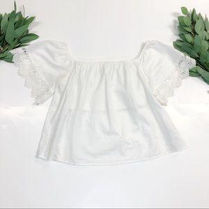 Express || White Crochet Off-Shoulder Crop Top